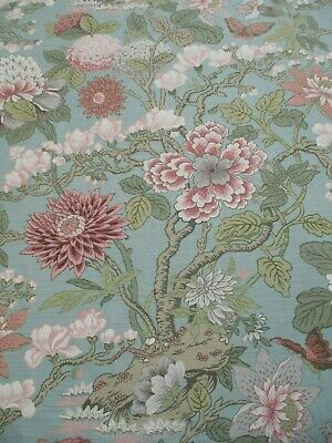 Carolina Irving Beautiful Rare Linen Print Upholstery Fabric Siam Eau de Nil