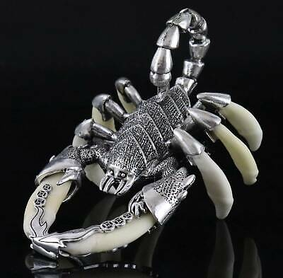 Collect Old Tibet Silver Inlay Wolf Tooth Carve Vicious Scorpion Amusing Statue