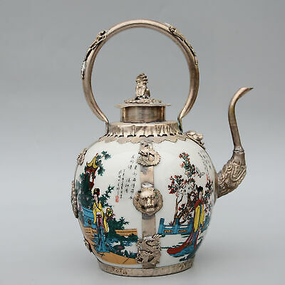 Collect Old Miao Silver Armour Enamel Porcelain Carve Lion Phoenix Noble Teapot