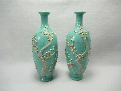 "Pair 19th Century Signed Chinese Turquoise Hand Painted Cherry Blossom 5"" Vases"