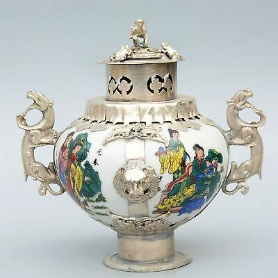 Collect Old Miao Silver Armour Porcelain Hand-Carve Dragon & Monkey Luck Tea Pot