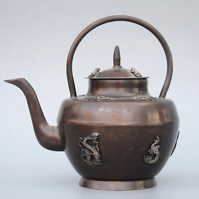 Collect China Old Red Copper Hand-Carved Bat & Myth Dragon Bring Luck Tea Pot
