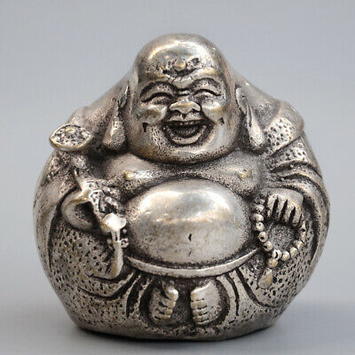 Collectable Old Miao Silver Hand-Carved Happy Buddha Bring Luck Delicate Statue