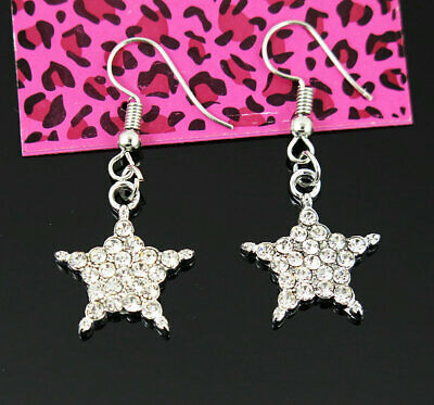 New Betsey Johnson star Clear Crystal Dorp Hook Silver Earrings woman Jewelry