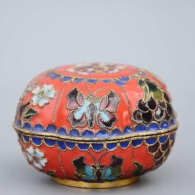 Collectable China Old Cloisonne Hand-Carved Butterfly Moral Auspicious Jewel Box