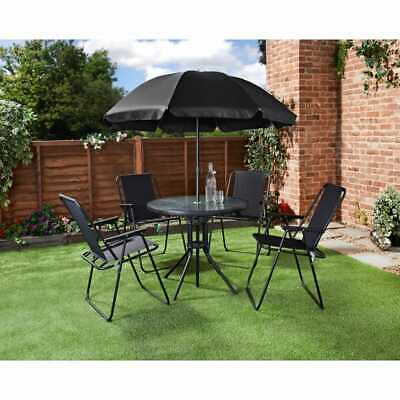 Garden 6 Pc Patio  Set Furniture  Outdoor 4 Seat Round Glass Table With Parasol