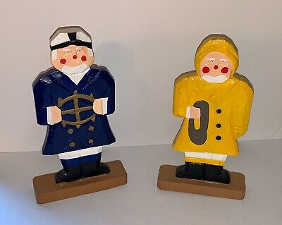 2 Wooden Carved, Hand painted, Fisherman Figurine, Sailor, Nautical Beach decor