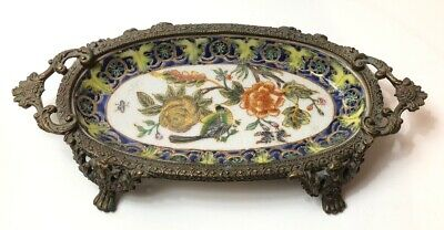 Antique Small Cloisonne Platter Tray 1895 109 Bird And Flowers