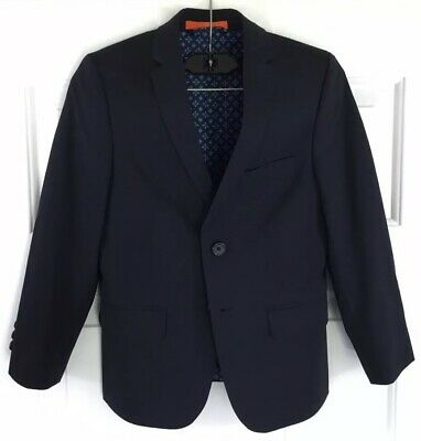 Tallia Orange Boy's Navy Blazer 2-Button Blue Sport Coat Jacket Size 8R EUC