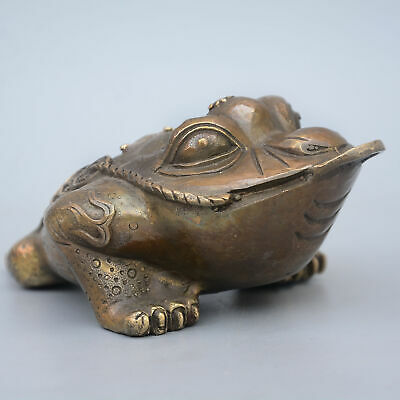 Collectable China Old Bronze Hand-Carved Toad Moral Bring Wealth Decor Statue