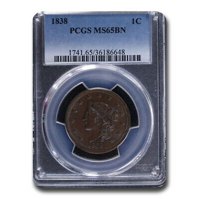 1838 Large Cent MS-65 PCGS (Brown) - SKU#210124