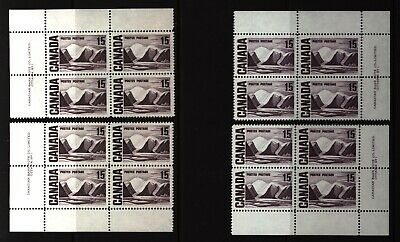 CANADA SET OF 4 PLATE BLOCKS 1 OF #463MNH 15c GREENLAND MOUNTAINS BY HARRIS #2