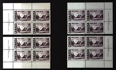 CANADA SET OF 4 PLATE BLOCKS 1 OF #463MNH 15c GREENLAND MOUNTAINS BY HARRIS #4