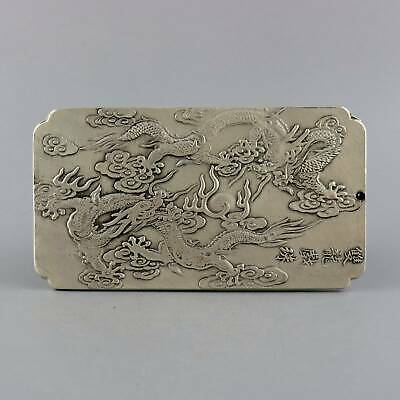 Collect Old Miao Silver Hand-Carved Double Dragon Chase Sun Auspicious Pendant