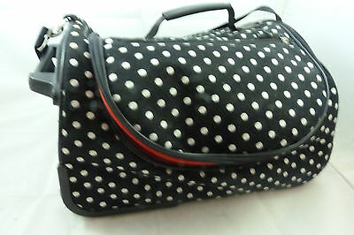 BUENO Black White Polka Dot Rolling Travel Cosmetic Bag Carry One Luggage