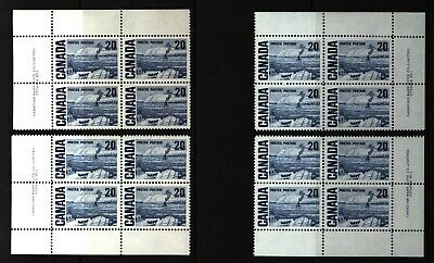 CANADA SET OF 4 PLATE BLOCKS 1 OF #464MNH 20c THE FERRY, QUEBEC BY J. MORRICE #2