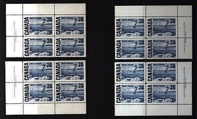 CANADA SET OF 4 PLATE BLOCKS 2 OF #464MNH 20c THE FERRY, QUEBEC BY J. MORRICE #2