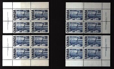 CANADA SET OF 4 PLATE BLOCKS 2 OF #464MNH 20c THE FERRY, QUEBEC BY J. MORRICE #3