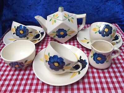 9 Piece HANCOCK'S Ivory Ware, Art Deco, Hand Painted Small Tea Set c.1930's