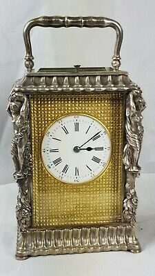 Rare C1870 F White Paris Silvered Brass Repeater Engraved Dial Carriage Clock