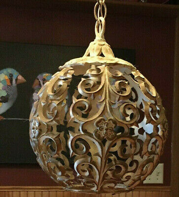 Vintage Round Metal Shell Globe Filigree Pendant Light Hanging Heavy Patina