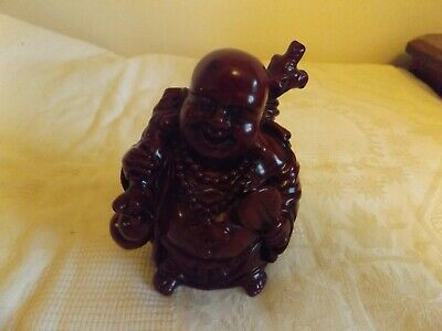 Vintage Heavy Red Resin Laughing Buddha Figure Figurine, Chinese Buddha Statue
