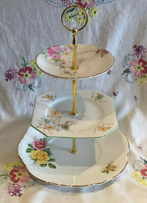 *Beautiful Vintage Mismatched Floral Tea Set Cake Plate Stand Yellow Green Pink*