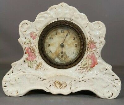 Antique VICTORIAN ROYAL BONN Style FLORAL Flower PORCELAIN Desk SHELF Old CLOCK