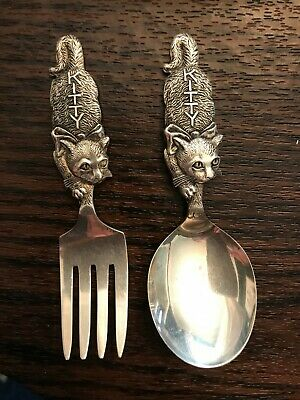 Antique Sterling Silver Child's Fork & Spoon Set- Elaborate Kitty Etchings