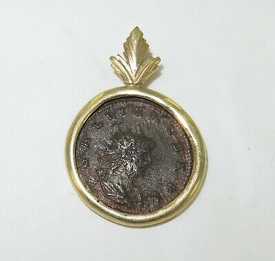 .Unknown Ancient Coin Pendant In 14K Surround. #4