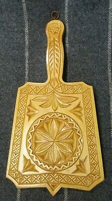 Vintage Hand Carved Solid Wood Wall Hanging Kitchen Trivet with Handle