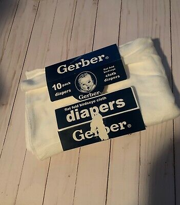 Vintage Gerber Baby Cotton 7 Pack Flat Prefold Birdseye Cloth Diapers NEW