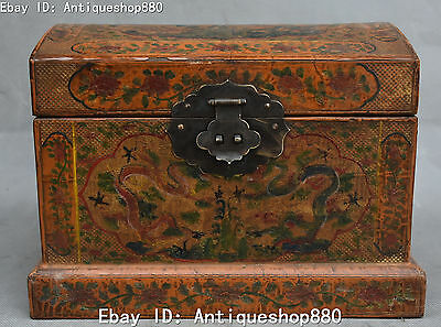 "8"" Chinese Wood lacquerware Dragon Loong Box Boxes Jewel Case Casket Statue"