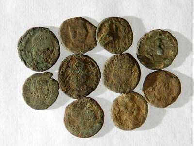 10 ANCIENT ROMAN COINS AE3/4 - Uncleaned and As Found! - Unique Lot X07304