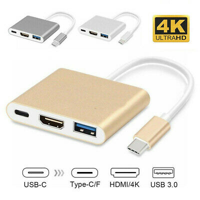 3 in 1 USB Type C 3.1 to USB-C 4K HDMI USB 3.0 Adapter Cable Hub for Macbook Pro