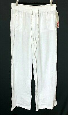 Style Co Womens Waistband Linen Straight Leg Pants Bright White Size Medium