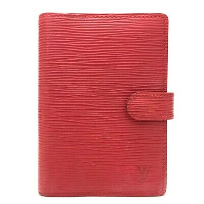 100% Authentic Louis Vuitton Epi Agenda PM Red Leather Notebook Cover /ee56