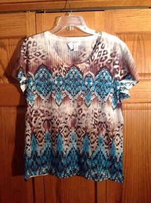 Zenergy By Chicos Top Cream Aqua Brown Scoop Neck Short Sleeve Womans Size 2