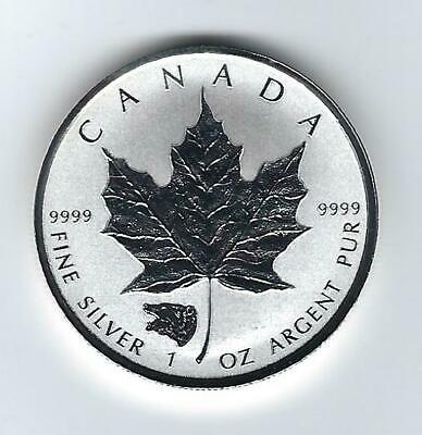 2016 CANADA 1 oz .9999 SILVER Reverse Proof $5 MAPLE LEAF with BEAR PRIVY MARK