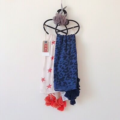 2x Cotton On Kids Girls Tasseled Scarfs ***NEW WITH TAG***