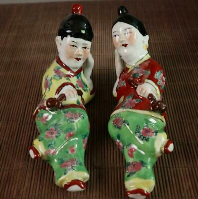 China Antique famille-rose porcelain statue hand-made ancient man & woman /We01