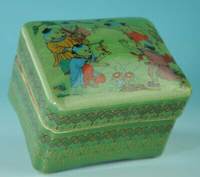 china old green glaze porcelain hand-made child box /qian long mark Cb01B