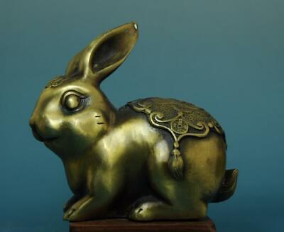 """chinese old hand carving pure copper""""福""""amd rabbit statue/qianlong mark d02"""