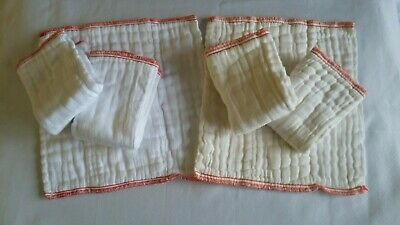 Lot of 6 Imagine Prefold Cotton Diapers Washed Unused, X-Small or Doublers