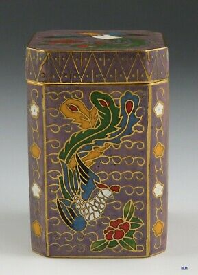 Vintage Chinese Cloisonné Enamel Bird of Paradise Box