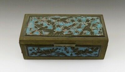 Antique Chinese Blue Enamel Flowers & Birds Brass Stampbox Stamp Box