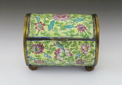 Antique Chinese late 1800s/early 1900s Yellow Floral Gilt Brass Enamel Box