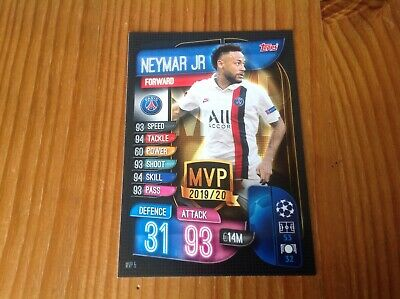 Match Attax Champions Europa League 19/20 Neymar Jr Paris Germain MVP Rare Card