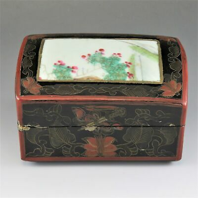 c1920s Antique Chinese Lacquer Box With Painted Roses on Porcelain Inlay