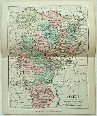 Original 1882 Map of The County of Kildare, Ireland by George Philip. Antique